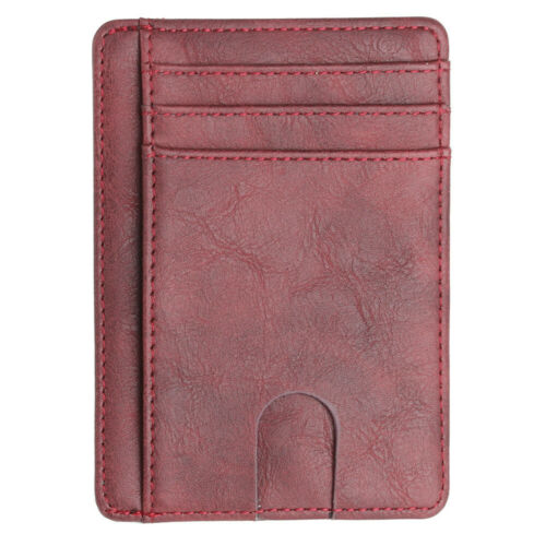 New Men/'s Leather Mini Wallet Thin Credit Card Holder ID Case Purse Bag Pouch