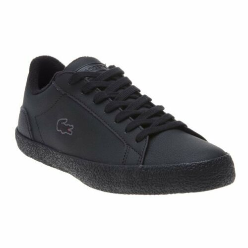 New Mens Lacoste Black Lerond Leather Trainers Court Lace Up