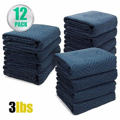 "Professional Pack 12 Moving Blankets Bundle 72x80"" Quilted Moving Pads packing"