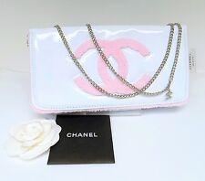 Chanel Beauty Purse WOC White Pink Silver Hardware Chain Authentic CC Handbag