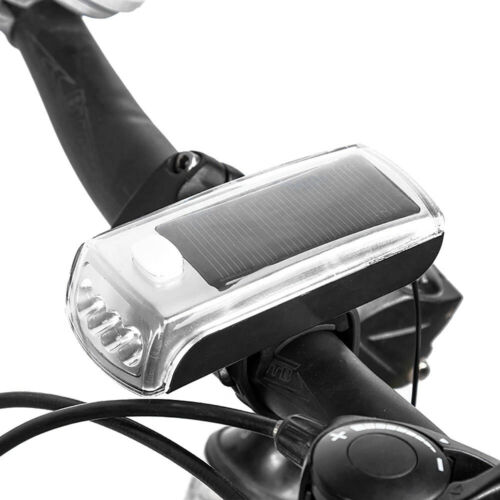Bike Bicycle Cycling 4 LED Solar Powered USB Rechargeable Front Light Lamp New