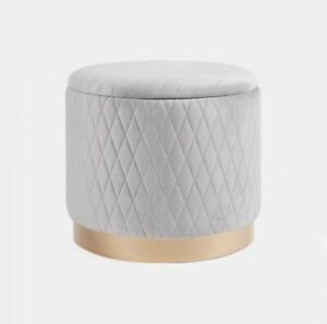 Wondrous Details About Plush Grey Velvet And Gold Quilted Storage Ottoman Vanity Trunk Stool Andrewgaddart Wooden Chair Designs For Living Room Andrewgaddartcom