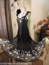 WALLIS Vintage 1920's Embroidered Bead Deco Charleston Flapper Gatsby Prom DRESS