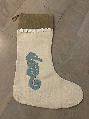 NEW WISTERIA Embroidered Beach House Christmas Stocking Ocean Coastal Seahorse