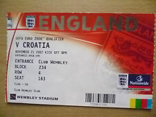 2008 UEFA EURO Qualifier Tickets Stubs- ENGLAND v CROATIA, 21 November