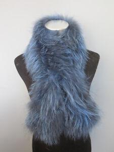 Braid-100-real-fox-fur-scarf-cape-collar-wrap-blue-gray-shawl-100-15cm