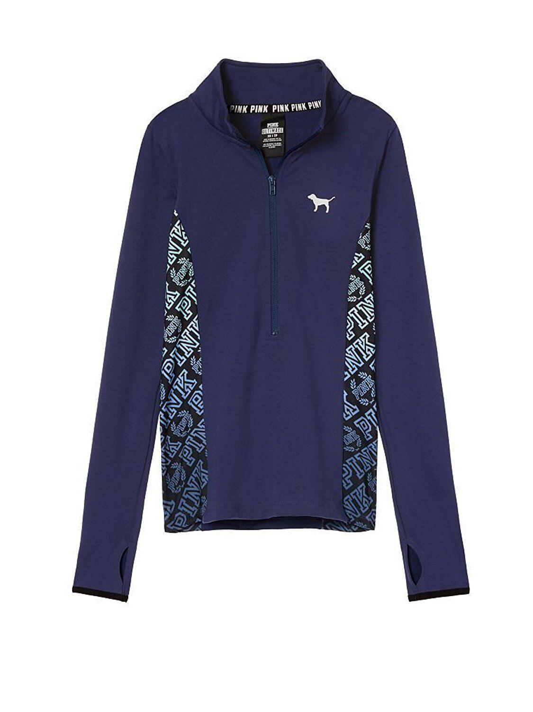 VICTORIA'S SECRET Pink Ultimate Deep Zip Zip Zip Sweater color Ombré bluee Medium NWT 32ba27