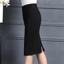 Sexy!Women Stretch OL High Waist Straight Solid Business Pencil Dress Midi Skirt