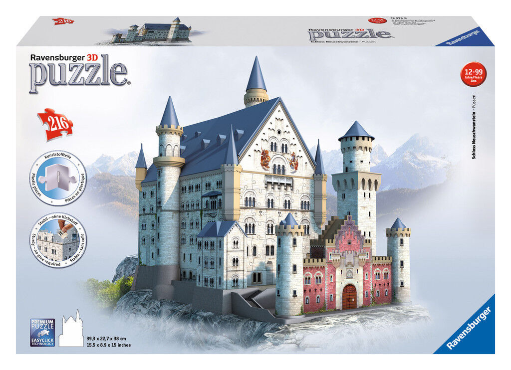 216 216 216 Teile Ravensburger 3D Puzzle Bauwerk Schloss Neuschwanstein 12573 e8aa99