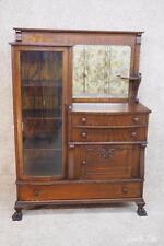 Tiger OAK Victorian Curio Cabinet Buffet Server Side by Side Bookcase Mirror