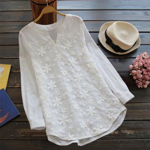 Donna lunghe a maniche lunghe allentata T shirt maniche con a shirt lunghi bottoni T a Uk fiori fTtxOqwHx