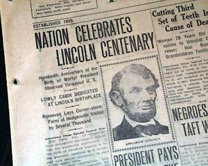 ABRAHAM LINCOLN'S 100th Birthday Celebration w/ Patriotic Illustration 1909 News