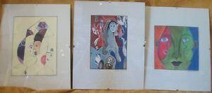 VTG-Lot-3-Miniature-Prints-Nicole-Bernier-Portrait-Abstracts
