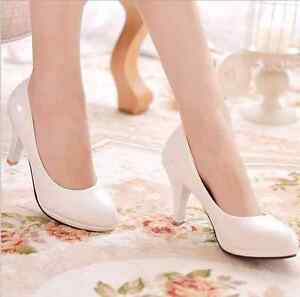 Womens-Round-Toe-OL-Work-Comfy-Pu-Platform-Pumps-Stiletto-High-Heels-Shoes