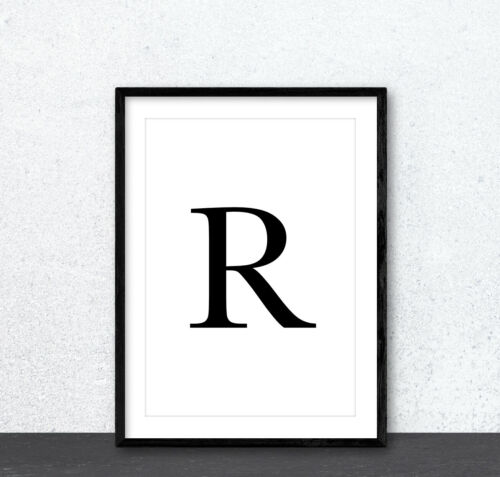 Personalised Any Initial Letter Typography Wall Art Print Poster Home Decor Gift