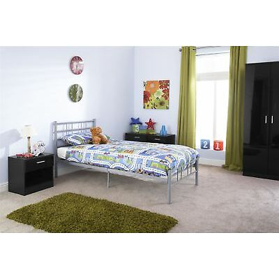 MORGAN METAL BEDSTEAD STURDY MODERN BED FRAME SILVER 3FT 4FT 4FT6 BED