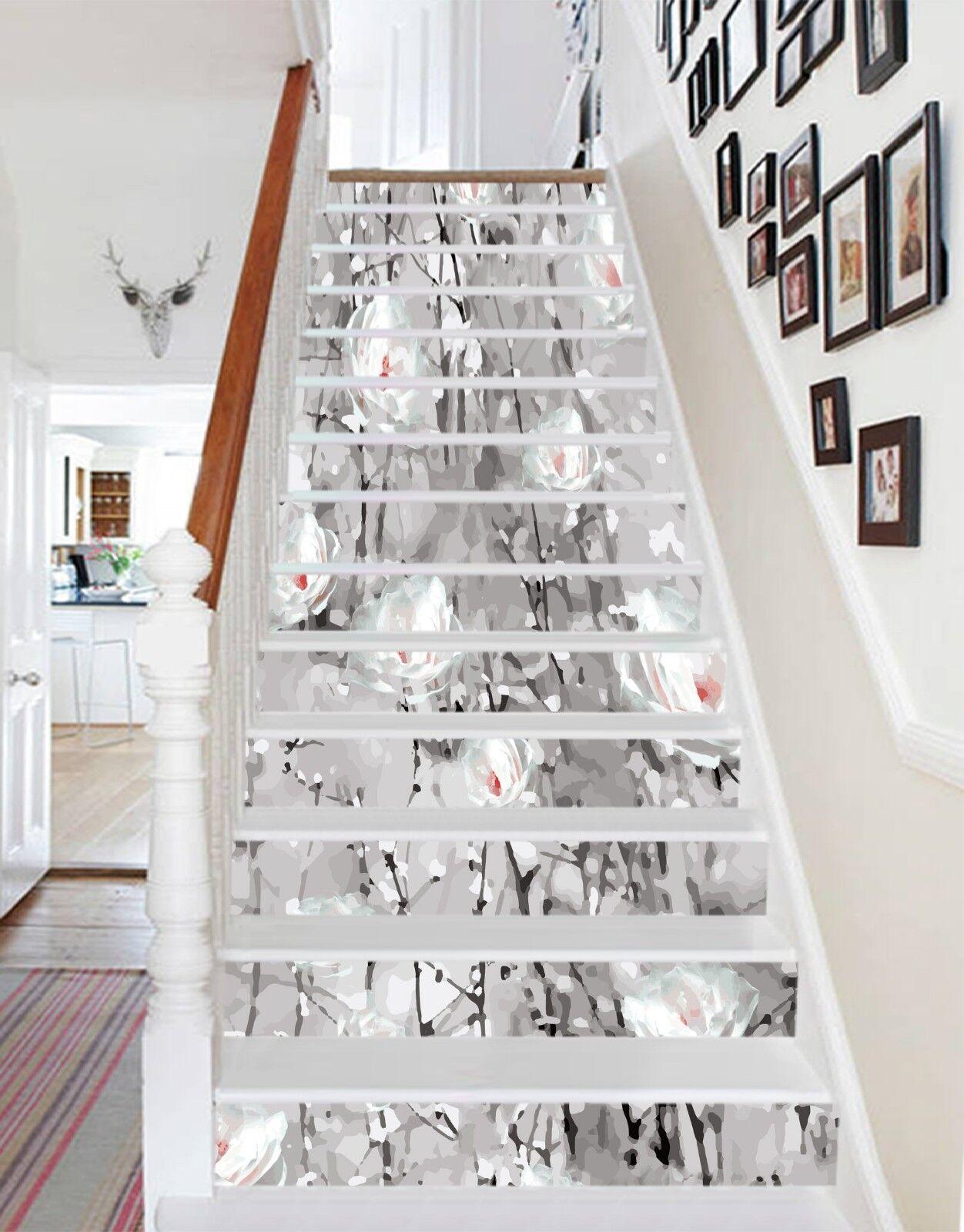 3D blanc Petals 3 Stair Risers Decoration Photo Mural Vinyl Decal Wallpaper CA