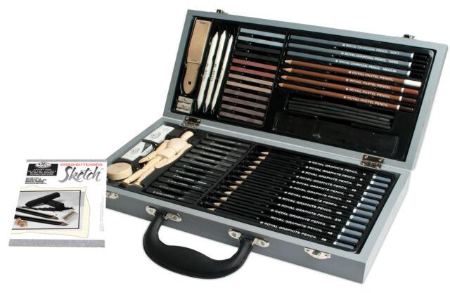 SKETCHING SET 58pc PREMIUM Deluxe Kit IN WOOD STORAGE CASE Royal Langnickel