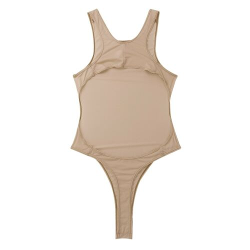 Damen Einteiliger String Body Badeanzug Transparent Bikini Schwimmanzug Bodysuit