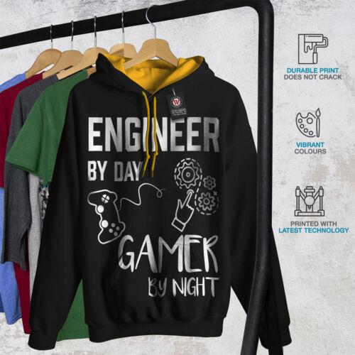 Gamer New Engineer gold Men Contrast Hood Hoodie Black Life dwXqBXP