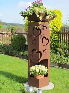 4Eck-Saeule-HERZ-Neu-Rost-Edelrost-Gartendeko-Stele-Rost-Deko-Rostsaeule-Garten