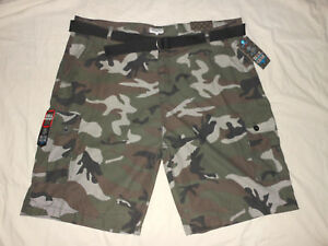 BLUE-GEAR-Mens-52-Green-Military-Camouflage-Cargo-Belted-Long-Shorts-Punk-NWT