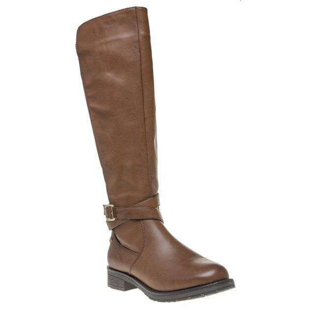New Womens XTI Tan 46186 Pu Boots Knee-High Elasticated Zip