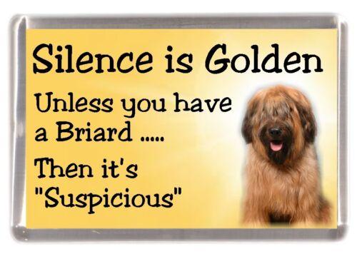 "Briard Dog Fridge Magnet /""Silence is Golden ...../"" by Starprint"