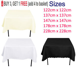 Square-Polyester-Nappe-De-Table-Housse-en-Tissu-Mariage-Fete-Picnics-vaisselle