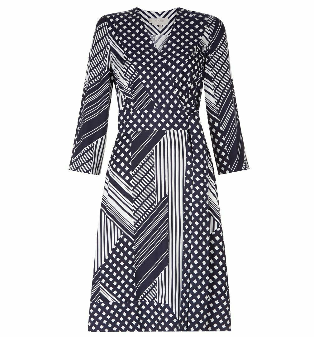 Hobbs elegant&flattering wrap front Shelly Dress in Navy Ivory UK size 8
