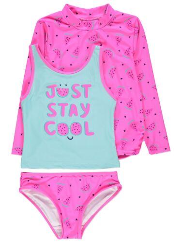Girls 3 Piece Pink Swimsuit Sun Protection UV Rash Vest Set NEW BNWT