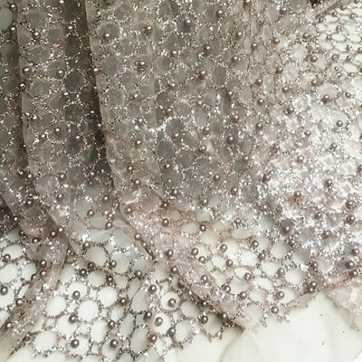 Glitter tulle lace mesh fabric gold Shiny floral 3d lace fabric by the yard