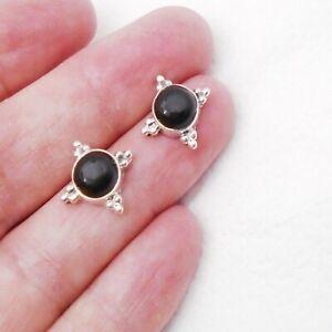 Onyx-schwarz-black-rund-Design-Ohrringe-Ohrstecker-925-Sterling-Silber-neu