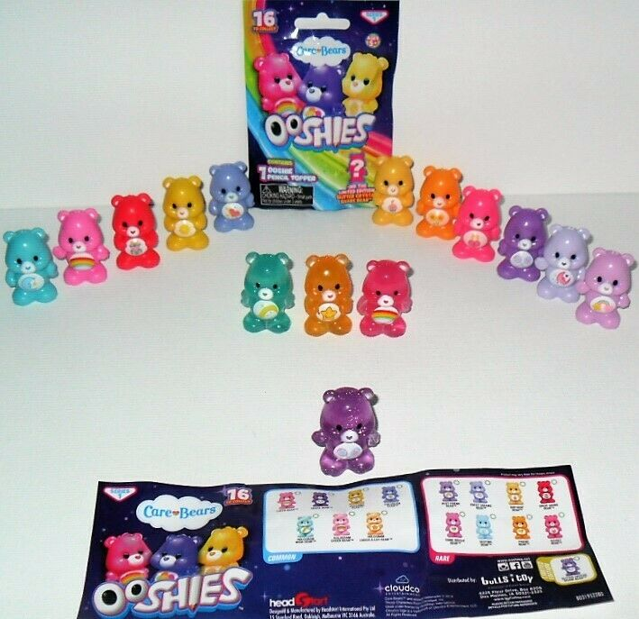OOSHIES CARE BEARS PENCIL TOPPER Masse OF (15) &  RARE GLITTER CRYSTAL SHARE BEAR