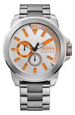 Men's HUGO BOSS Large 50mm Luxury Watch Stainless Steel Link Silver/Orange