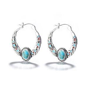 Boho-Tibetan-Silver-Turquoise-Dangle-Drop-Hook-Earring-Women-Vintage-Jewelry