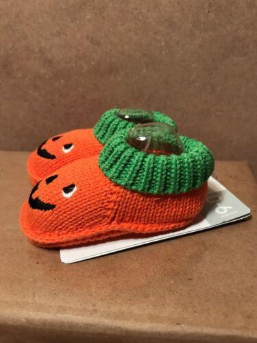 Carter/'s Orange Halloween Pumpkin Infant Baby Knit Booties 0-6 Months New