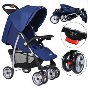 Foldable-Baby-Kids-Travel-Stroller-Newborn-Infant-Buggy-Pushchair-Child-Blue