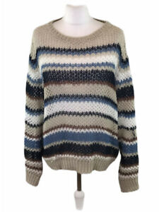 Max-Mara-Knitted-Jumper-100-Linen-Sheer-Striped-Medium-Womens