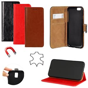 ECHT-LEDER-Buch-Form-Handytasche-Book-Case-FLEXI-Huelle-Cover-ver-Handy