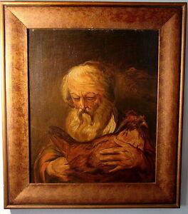 Barock-Portrait-baertiger-Mann-mit-Huhn-Oel-auf-Holz-Staedt-Museum-Aachen