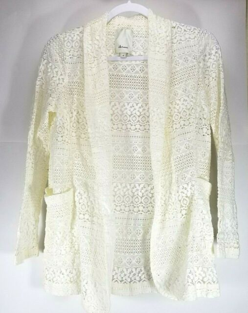 Elevenses Anthropologie SP Lace Open Front Jacket Creme with Pockets