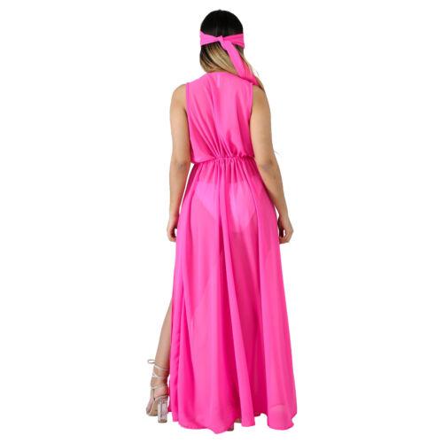 ❤Sexy Women V Neck Sleeveless Solid Chiffon High Slit Cape Dress with Headband