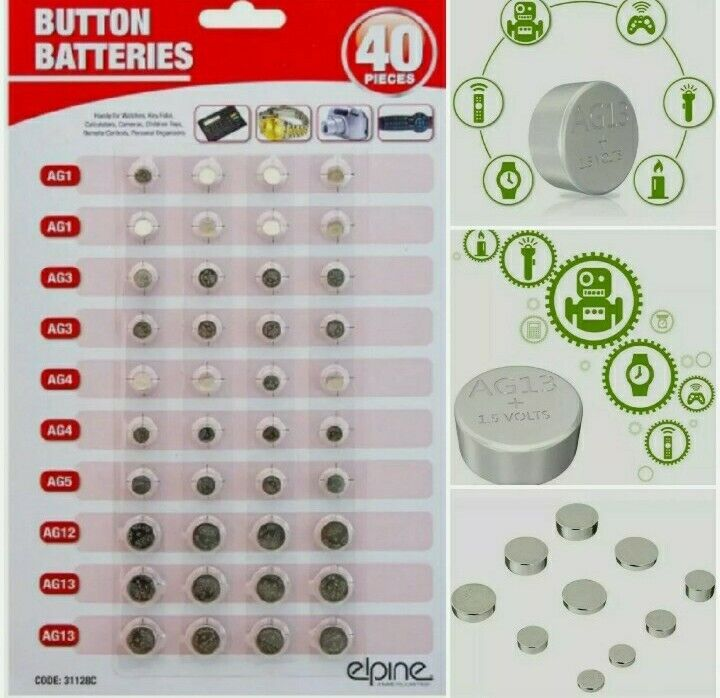40 Assorted Button Cell Batteries AG 1,3,4,5,12,13 Mini Battery 6 Size