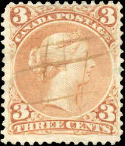 1868-Used-Canada-F-Scott-25-3c-Large-Queen-Issue-Stamp