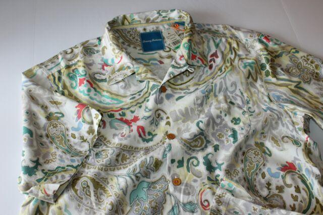 Tommy Bahama Camp Shirt Royal Bermuda Continental White T316746 Silk New Large L
