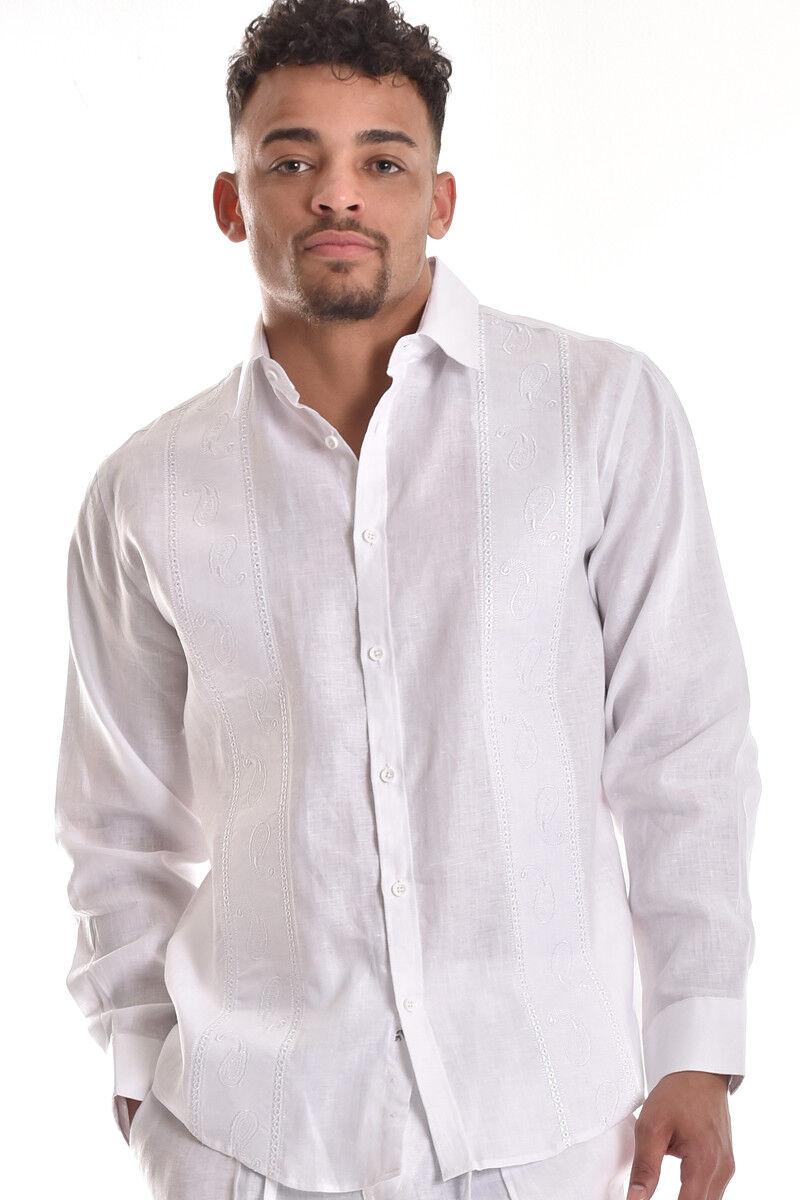 Mens Bohio 100% Pure Linen White Paisley Embroidered L S Shirt (S  4XL)- MLS750