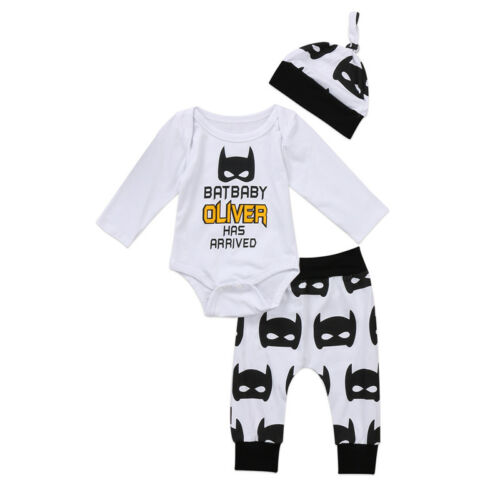 Newborn Baby 3PCS Set Outfits Bodysuit Romper T-shirt+Pants Boy Girl Clothes Set
