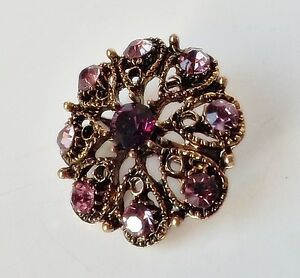 Blueten-Brosche-florales-Ornament-Vintage-Strass-lila-amethyst-violett-antikgold