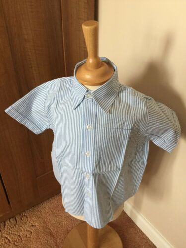 New Without Tags Boys Pale Blue Stripe  Short Sleeved Cotton Shirt